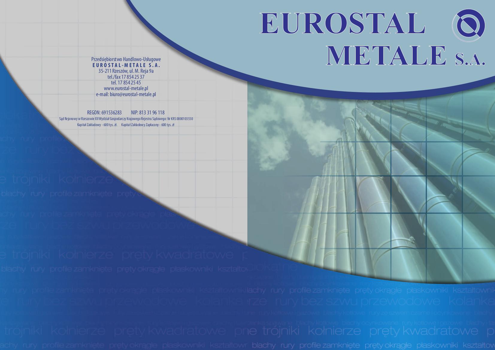 Genialny KATALOG - Eurostal-Metale Rzeszów - Stal nierdzewna, Rury stalowe VJ75